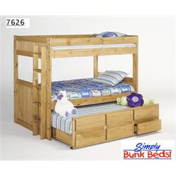 SIMPLY BUNK BEDS FULL OVER FULL W/TWIN TRUNDLE 726BBTR Image